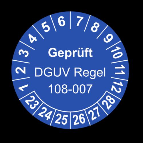 Geprüft DGUV Regel 108-007, blau