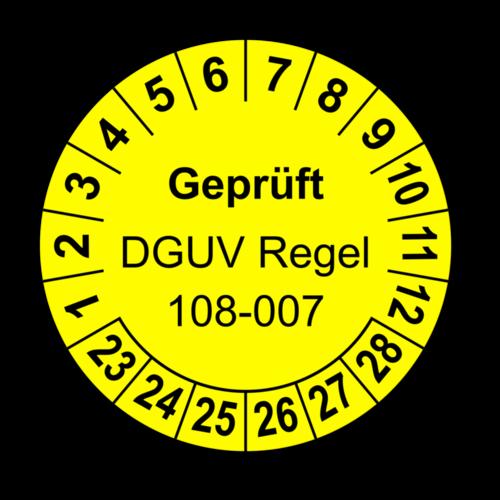 Geprüft DGUV Regel 108-007, gelb