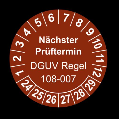 Nächster Prüftermin DGUV Regel 108-007, braun