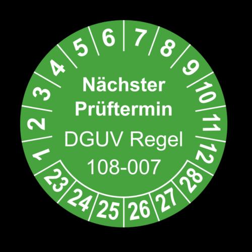 Nächster Prüftermin DGUV Regel 108-007, grün