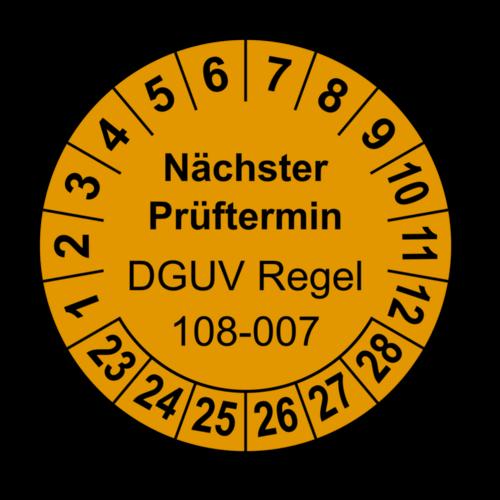 Nächster Prüftermin DGUV Regel 108-007, orange