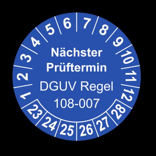 Nächster Prüftermin DGUV Regel 108-007, blau