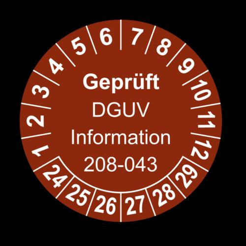 Geprüft DGUV Information 208-043, braun
