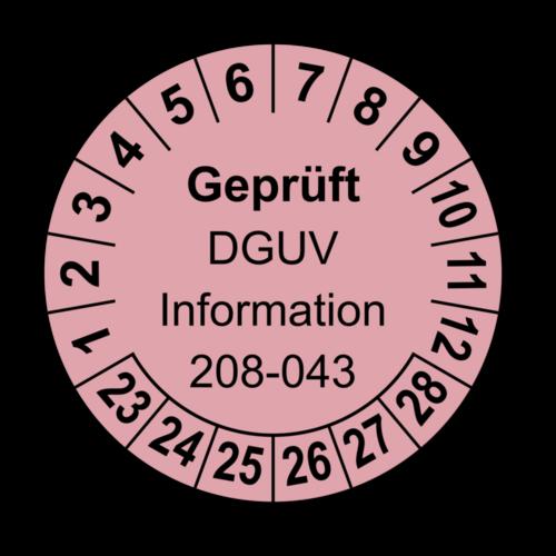 Geprüft DGUV Information 208-043, rosa