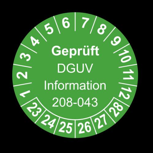 Geprüft DGUV Information 208-043, grün