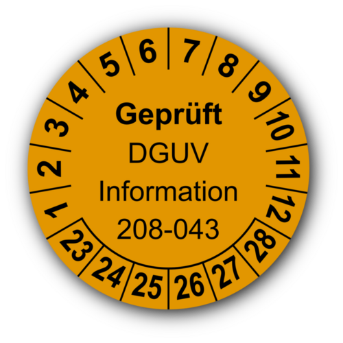 Geprüft DGUV Information 208-043, orange