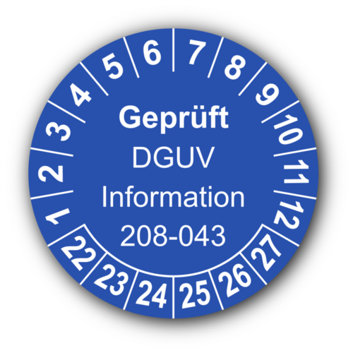 Geprüft DGUV Information 208-043, blau