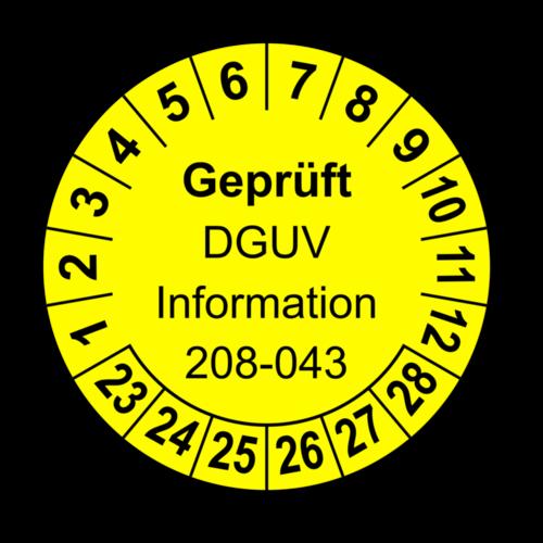 Geprüft DGUV Information 208-043, gelb