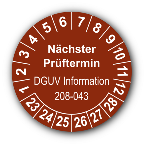 Nächster Prüftermin DGUV Information 208-043, braun