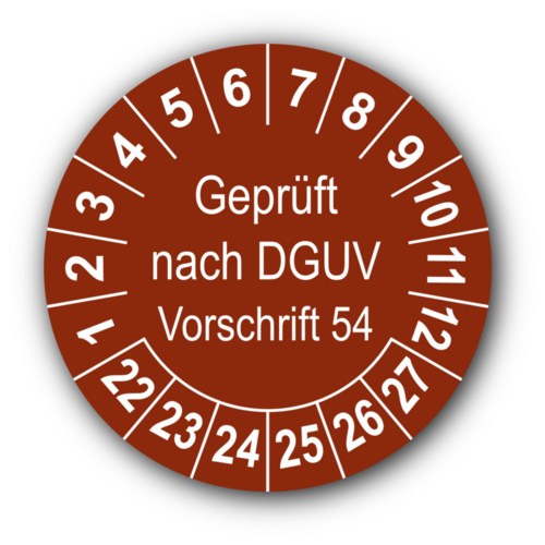 Geprüft nach DGUV Vorschrift 54, braun