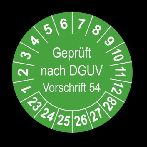 Geprüft nach DGUV Vorschrift 54, grün