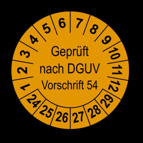 Geprüft nach DGUV Vorschrift 54, orange