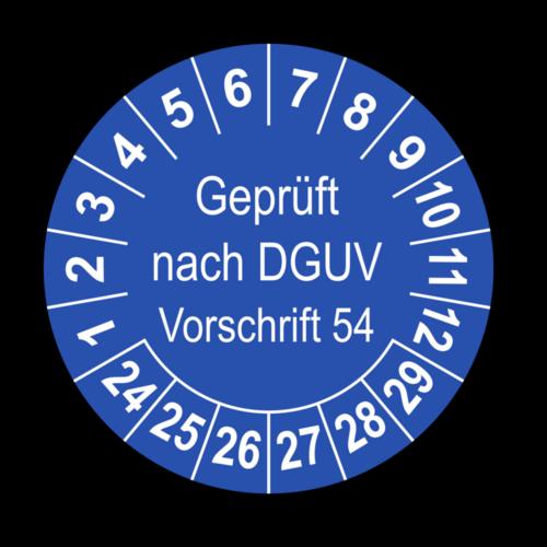 Geprüft nach DGUV Vorschrift 54, blau