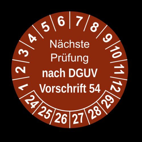 Nächste Prüfung nach DGUV Vorschrift 54, braun