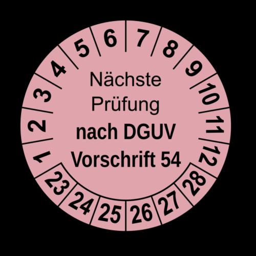 Nächste Prüfung nach DGUV Vorschrift 54, rosa