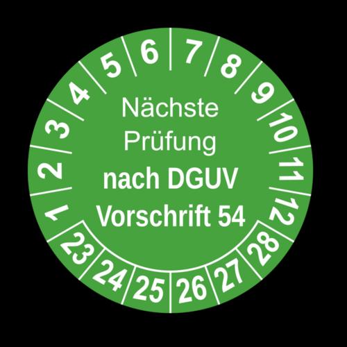 Nächste Prüfung nach DGUV Vorschrift 54, grün