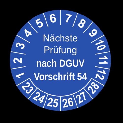Nächste Prüfung nach DGUV Vorschrift 54, blau