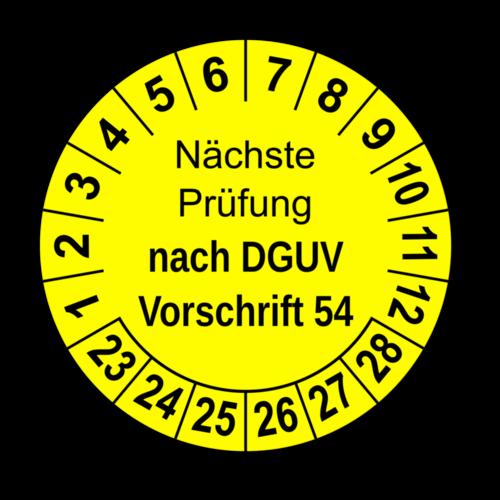 Nächste Prüfung nach DGUV Vorschrift 54, gelb