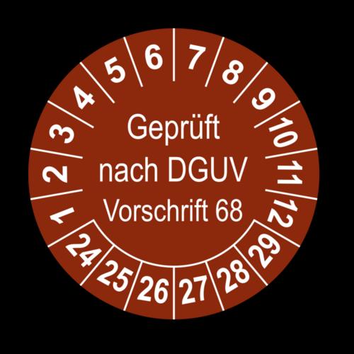 Geprüft nach DGUV Vorschrift 68, braun