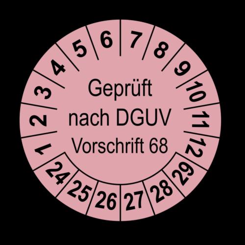 Geprüft nach DGUV Vorschrift 68, rosa