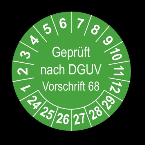 Geprüft nach DGUV Vorschrift 68, grün