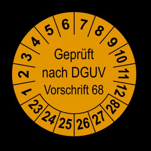 Geprüft nach DGUV Vorschrift 68, orange