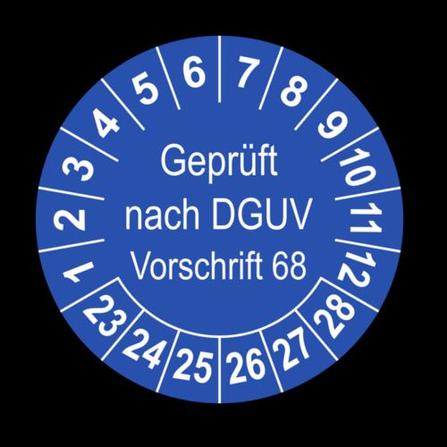 Geprüft nach DGUV Vorschrift 68, blau