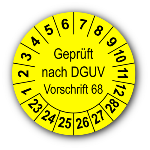 Geprüft nach DGUV Vorschrift 68, gelb