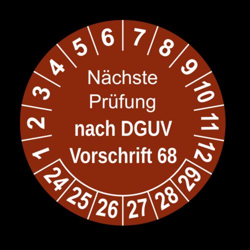 Nächste Prüfung nach DGUV Vorschrift 68, braun