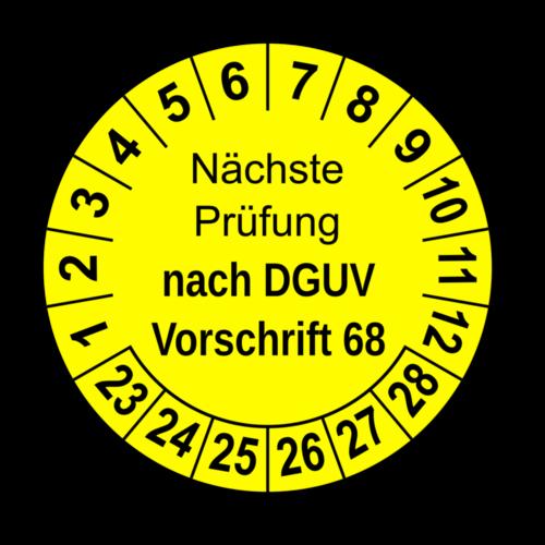 Nächste Prüfung nach DGUV Vorschrift 68, gelb