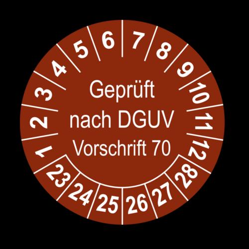 Geprüft nach DGUV Vorschrift 70, braun