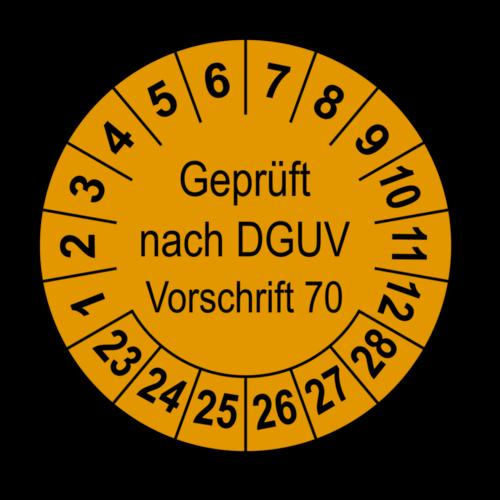 Geprüft nach DGUV Vorschrift 70, orange