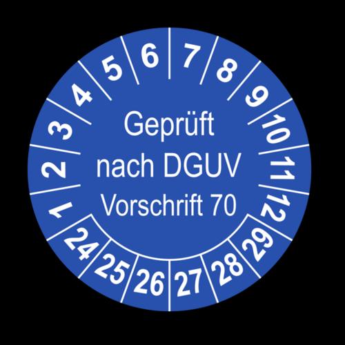 Geprüft nach DGUV Vorschrift 70, blau