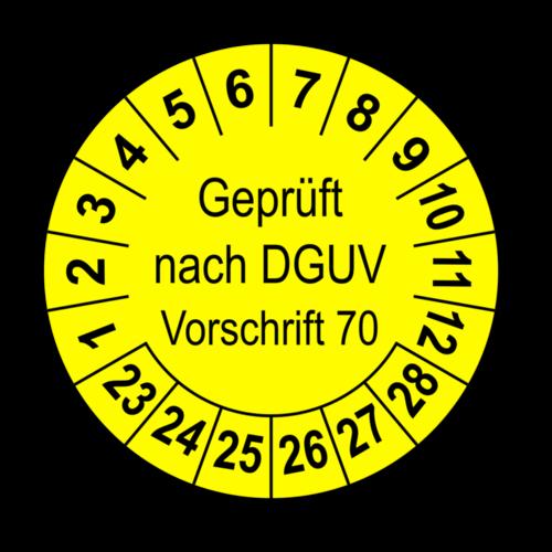Geprüft nach DGUV Vorschrift 70, gelb
