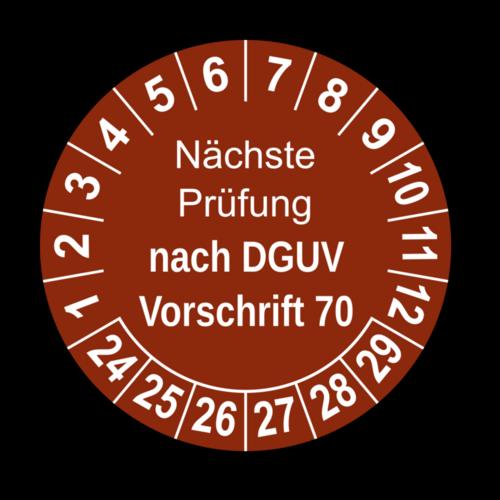 Nächste Prüfung nach DGUV Vorschrift 70, braun
