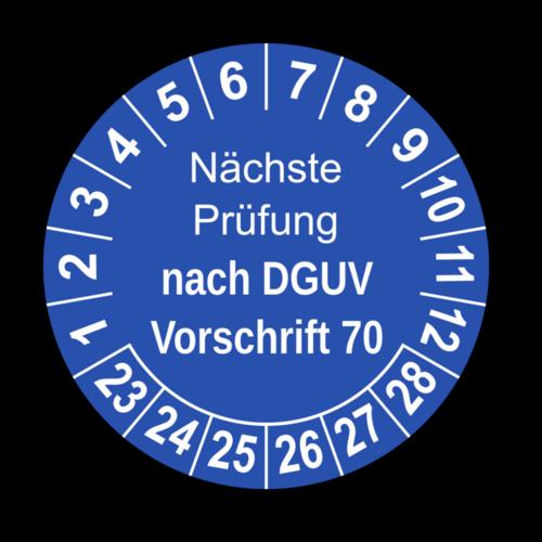 Nächste Prüfung nach DGUV Vorschrift 70, blau