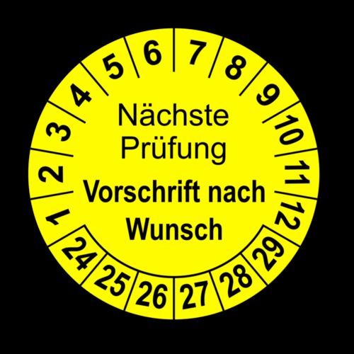 Nächste Prüfung (Vorschrift nach Wunsch), gelb