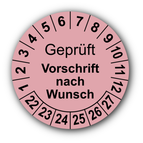 Geprüft (Vorschrift nach Wunsch), rosa
