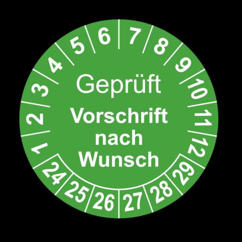 Geprüft (Vorschrift nach Wunsch), grün