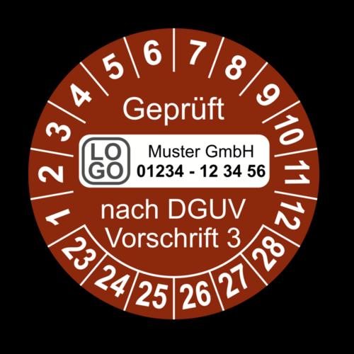 Geprüft nach DGUV Vorschrift 3, braun, mit Wunschtext
