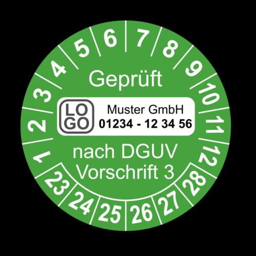 Geprüft nach DGUV Vorschrift 3, grün, mit Wunschtext