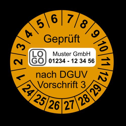 Geprüft nach DGUV Vorschrift 3, orange, mit Wunschtext