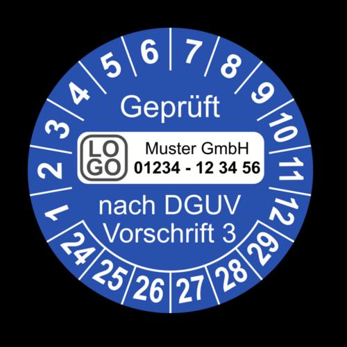 Geprüft nach DGUV Vorschrift 3, blau, mit Wunschtext