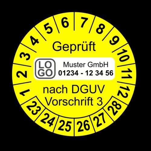 Geprüft nach DGUV Vorschrift 3, gelb, mit Wunschtext