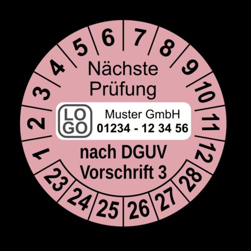 Nächste Prüfung nach DGUV Vorschrift 3, rosa, mit Wunschtext