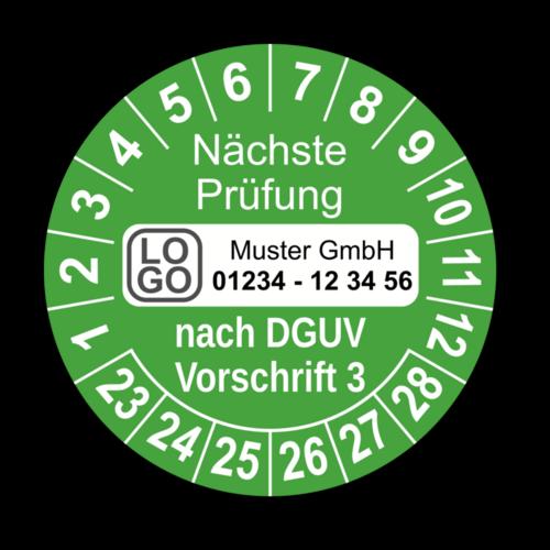 Nächste Prüfung nach DGUV Vorschrift 3, grün, mit Wunschtext