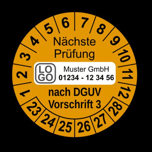 Nächste Prüfung nach DGUV Vorschrift 3, orange, mit Wunschtext