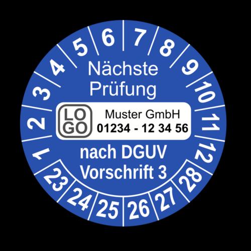 Nächste Prüfung nach DGUV Vorschrift 3, blau, mit Wunschtext