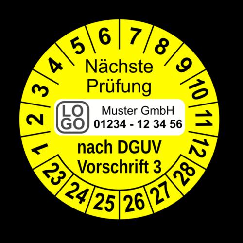 Nächste Prüfung nach DGUV Vorschrift 3, gelb, mit Wunschtext