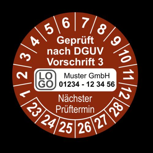 Geprüft nach DGUV Vorschrift 3 Nächster Prüftermin, braun, mit Wunschtext
